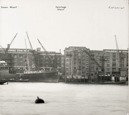 Thames Riverscape showing Hermitage Steam Wharf, the Hermitage Stairs and Colonial Wharves: 1937