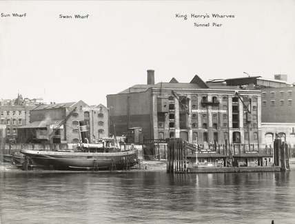 Thames Riverscape showing Sun and Swan Wharves, King Henry's Wharves and Tunnel Pier: 1937