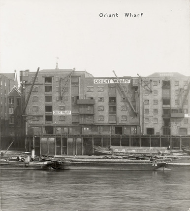 Thames Riverscape showing Orient Wharf: 1937