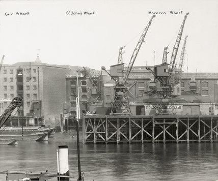 Thames Riverscape showing Gun Wharf, St John's Wharf and Morocco Wharf: 1937