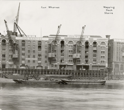 Thames Riverscape showing Gun Wharves and Wapping Dock Stairs: 1937