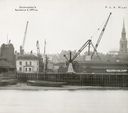 Thames Riverscape showing the Dockmaster's Residence and Office: 1937