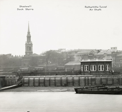 Thames Riverscape showing Shadwell Dock Stairs and the Rotherhithe Tunnel Air Shaft: 1937