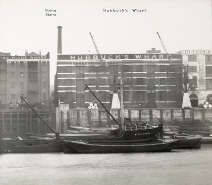 Thames Riverscape showing Stone Stairs and Hubbuck's Wharf : 1937