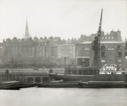 Thames Riverscape showing Free Trade Wharf : 1937