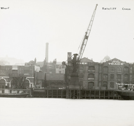 Thames Riverscape showing Ratcliff Cross Wharf: 1937
