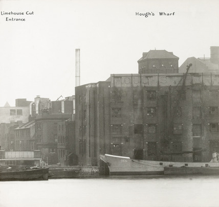 Thames Riverscape showing  Limehouse Cut Entrance and Hough's Wharf: 1937