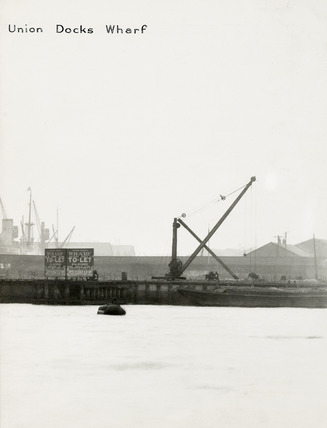 Thames Riverscape showing Union Docks Wharf; 1937