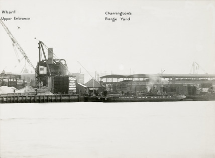 Thames Riverscape showing Charrington's Barge Yard; 1937