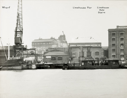 Thames Riverscape showing Limehouse Pier and Limehouse Hole stairs; 1937