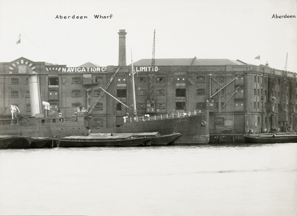 Thames Riverscape showing Aberdeen Wharf and Dock; 1937