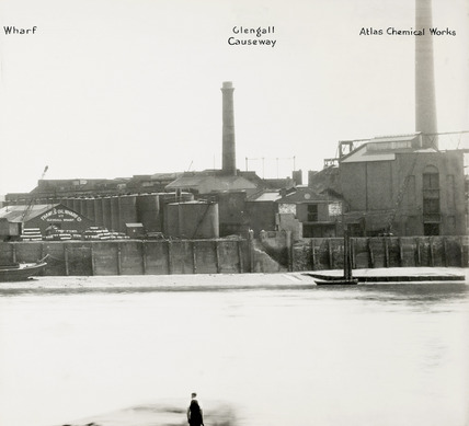 Thames Riverscape showing Glengall Wharf, Glengall Causeway and the Atlas Chemical Works; 1937
