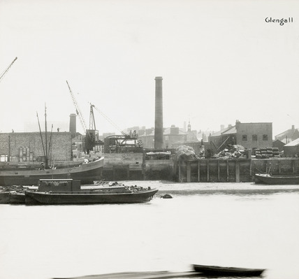 Thames Riverscape showing Glengall Wharf; 1937