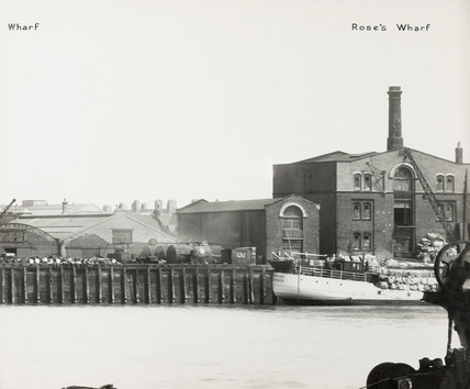 Thames Riverscape showing Ferguson's Wharf and Rose's Wharf; 1937