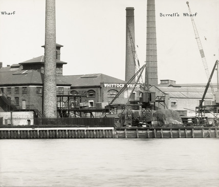 Thames Riverscape showing Venesta Wharf and Burrell's Wharf: 1937