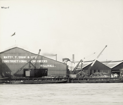 Thames Riverscape showing  Shaw's Wharf: 1937