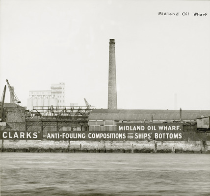Thames Riverscape showing Midland Oil Wharf: 1937