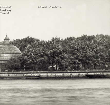 Thames Riverscape showing the Greenwich Footway Tunnel and Island Gardens: 1937