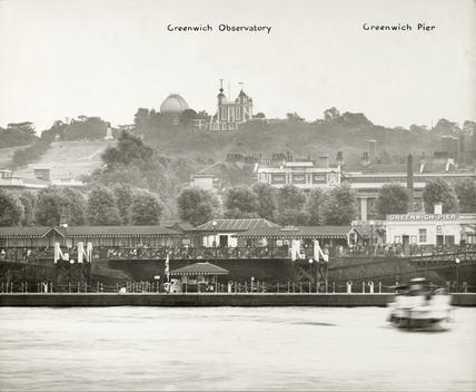 Thames Riverscape showing the Greenwich Observatory and Greenwich Pier : 1937