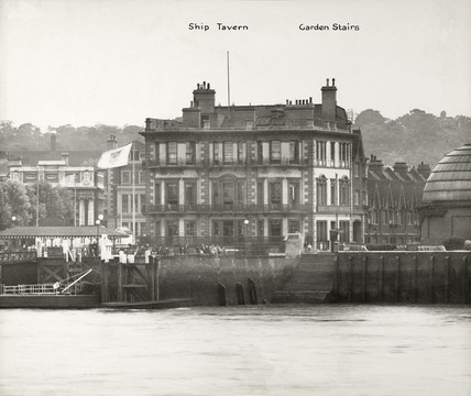 Thames Riverscape showing Ship Tavern and the Garden Stairs : 1937