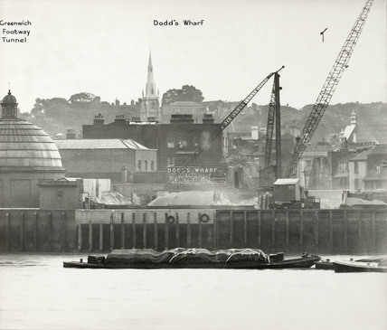 Thames Riverscape showing Greenwich Footway Tunnel and Dodd's Wharf: 1937