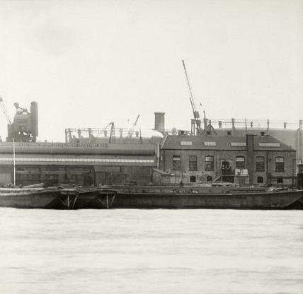 Thames Riverscape showing Dreadnought Yard - Tilbury Contracting and Dredging: 1937