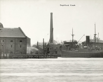Thames Riverscape showing Deptford Creek: 1937