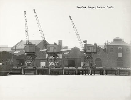 Thames Riverscape showing Deptford Supply Reserve Depot: 1937