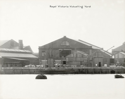 Thames Riverscape showing The Royal Victoria Victualling Yard: 1937