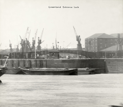 Thames Riverscape showing Greenland Entrance Dock: 1937