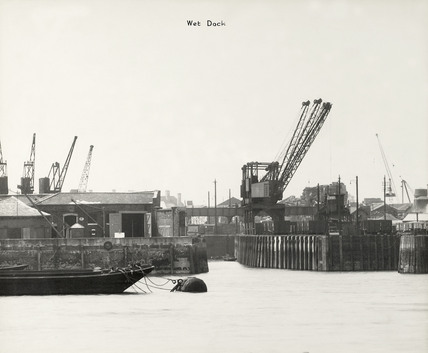 Thames Riverscape showing the Wet Dock Deptford: 1937