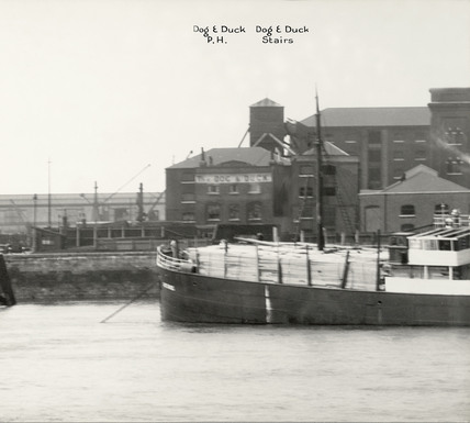 Thames Riverscape showing The Dog & Duck Public House and the Dog & Duck Stairs: 1937