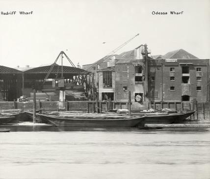 Thames Riverscape Redriff Wharf and Odessa Wharf: 1937