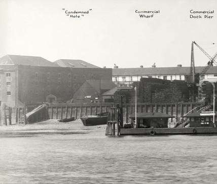 Thames Riverscape showing Condemned Hole, Commercial Wharf and Commercial Dock Pier: 1937
