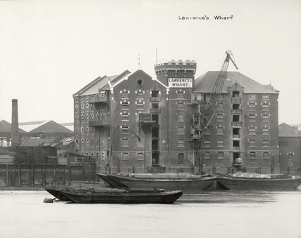 Thames Riverscape showing Lawrence's Dock: 1937