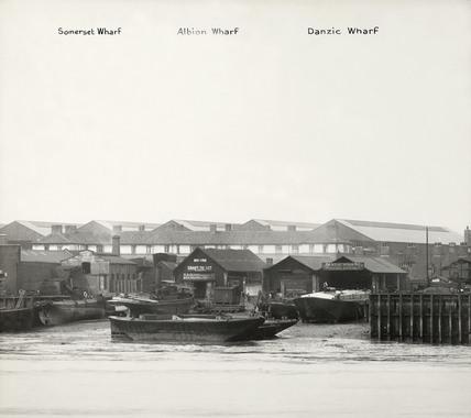 Thames Riverscape showing Somerset Wharf, Albion Wharf and Danzic Wharf: 1937
