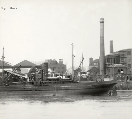 Thames Riverscape showing Nelson Dry Dock: 1937
