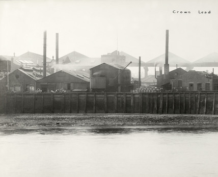 Thames Riverscape showing The Crown Lead Works: 1937