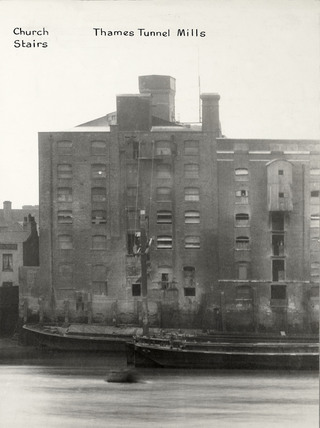 Thames Riverscape showing Church Stairs and Thames Tunnel Mills: 1937
