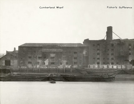 Thames Riverscape showing Cumberland Wharf and Fishers Sufferance Wharf: 1937
