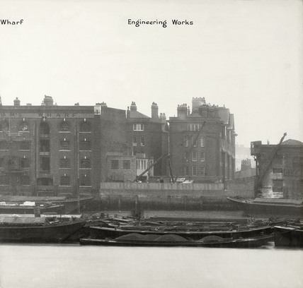 Thames Riverscape showing Brandram's Wharf and the engineering Works : 1937