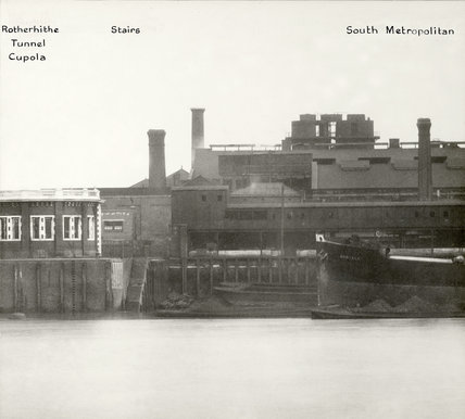 Thames Riverscape showing the Rotherhithe Cupola and the South Metropolitan Gas Works:1937