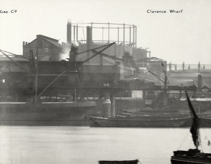 Thames Riverscape showing South Metropolitan Gas Works and Clarence Wharf ;1937