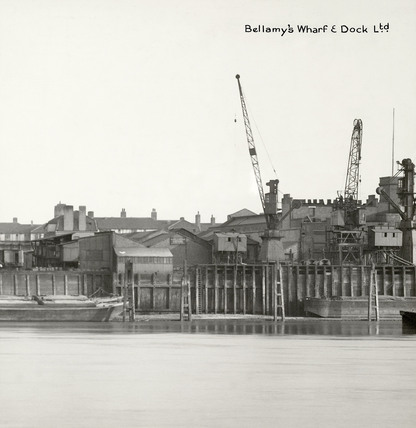 Thames Riverscape showing Bellamy's Wharf and Dock: 1937