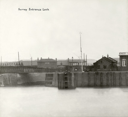 Thames Riverscape showing Surrey Entrance Lock: 1937