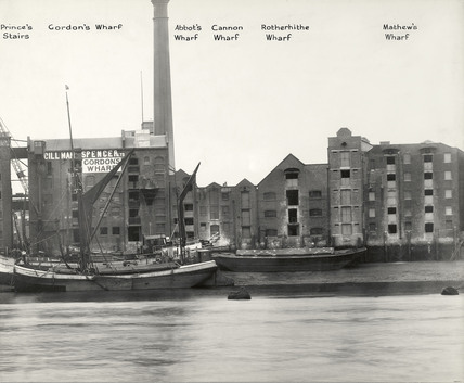Thames Riverscape showing Prince's Stairs, Gordon's Wharf, Abbot's Wharf, Cannon Wharf, Rotherhithe Wharf and Mathew's Wharf : 1937