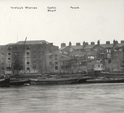 Thames Riverscape showing Yardley's Wharves, Cochin Wharf and Pockocks Barge Yard: 1937