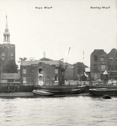 Thames Riverscape showing Hope Wharf and Bombay Wharf: 1937