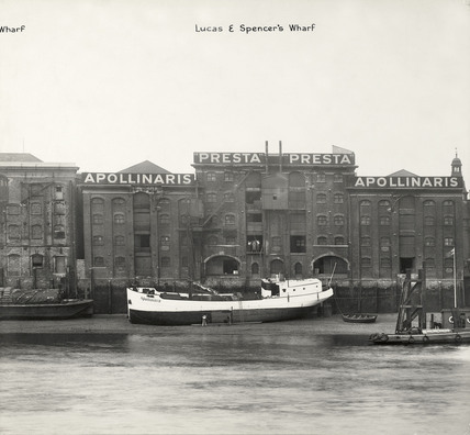 Thames Riverscape showing Lucas and Spencer's Wharf : 1937