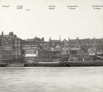 Thames Riverscape showing Pockock's Barge Yard - Braithwaite & Dean's Wharf: 1937